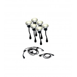 Set de 6 mini encastrés DECK ø 45mm - Led Warm -0,8W/unit + Connecteur