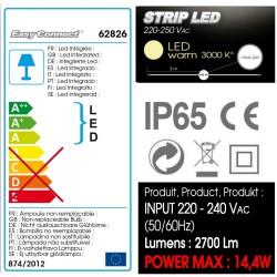 EXTENSION - STRIP LED 17mm IP67 - 3,00 m - Blanc Chaud