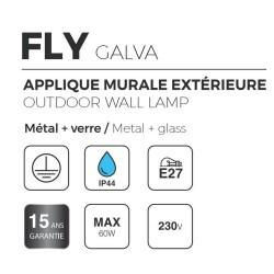 Applique Extérieure FLY - Descendante - Métal Galvanisé - Ampoule 1xE27 Maxi 60W - IP44 CLI 230V