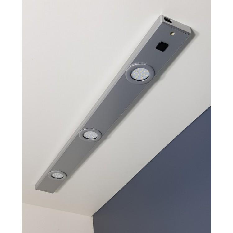 Réglette pour Cuisine ROMEO LED avec Interrupteur - Aluminium Silver - Led intégrée 3x3W 850Lm 4000K - IP20 CLII
