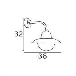 Applique Galva IRIS, Ampoule E27 non fournie, Max 60W, IP54, 230V, Classe I
