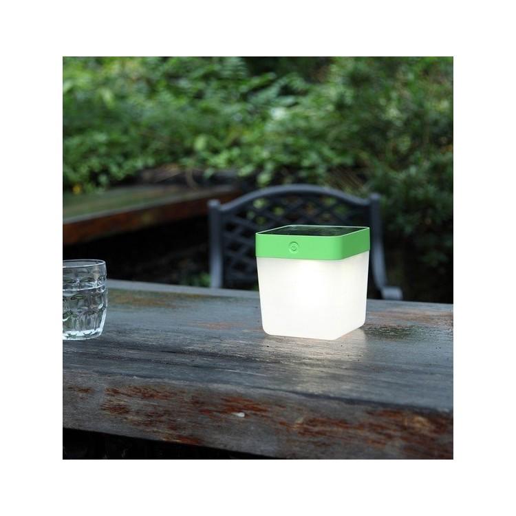 Lampe à poser Solaire Verte TABLE CUBE, LED Intégrée, 1W, 100 lumens, 3000K, IP44, SOLAIRE, Classe III