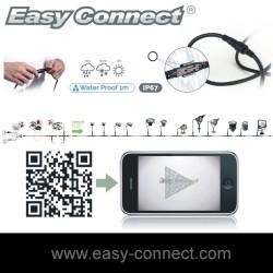 """EASY CONNECT - connecteurs """"T"""" Noir 1 entrée et 2 sorties (lot de  2 Pièces)"""